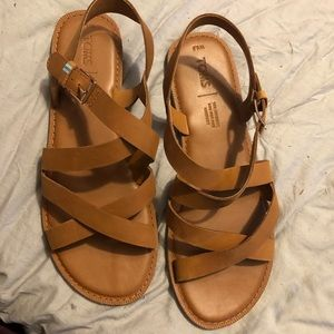 Tom's Tan Leather Sicily Womens size 8.5M Sandals